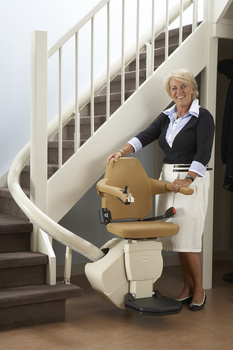 Handicare Sterling Curved Freelift Stair Lift Stairway